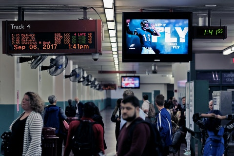 Philadelphia Eagles Digital Screen on SEPTA platform