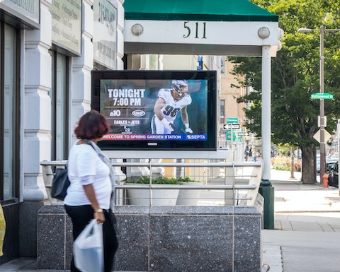 Philadelphia Eagles Digital Urban Panel at SEPTA entrance