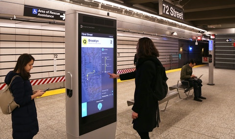 Wayfinding and device charging on IxNTouch Kiosk in NYC MTA