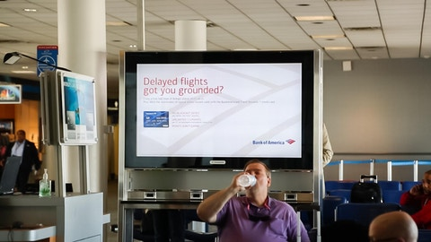 Bank of America ad in gate waiting area in Charlotte airport