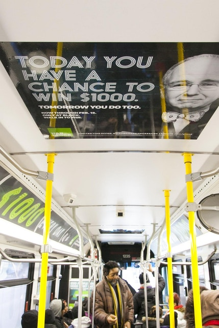 Chicago CTA bus interior with H&R Block advertisement