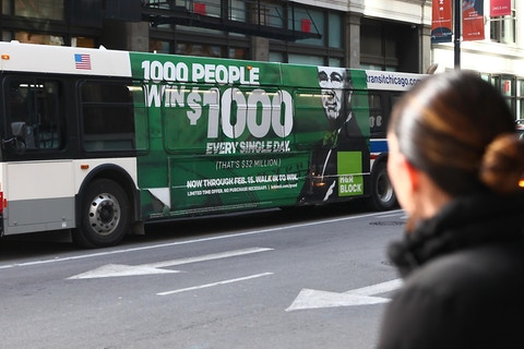 H&R Block bus advertisement