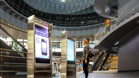 Intersection IxNTouch kiosks at Fulton St station in New York