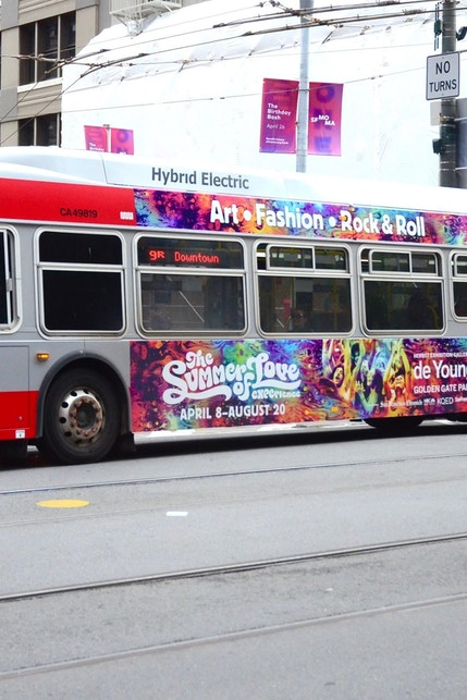 San Francisco MUNI bus wth Summer of Love media