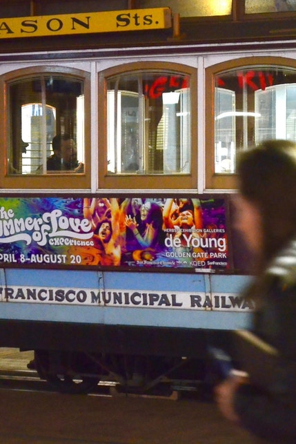San Francisco MUNI trolley with Summer of Love media