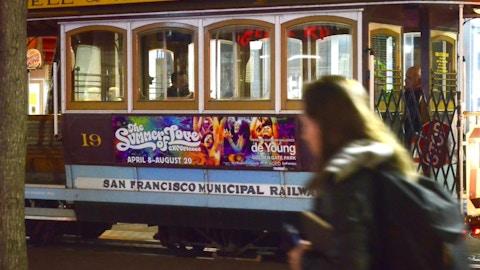 San Francisco MUNI trolley with Summer of Love media