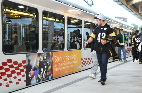 Steelers fans taking Pittsburgh SEPTA train