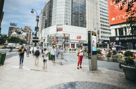 Pedestrians in Herald Square in New York use Link's wi-fi