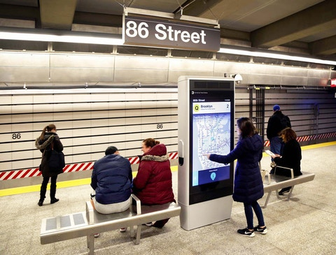 The Interactive Information Kiosk shows dynamic wayfinding on the subway platform