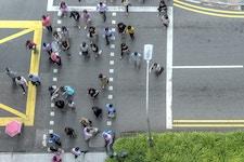 Aerial view of pedestrian traffic crossing