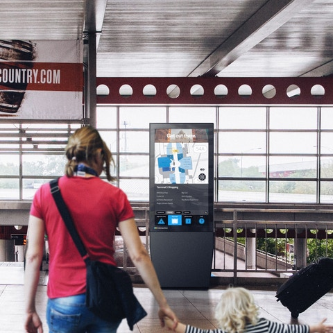 IxNTouch Kiosk showing airport transportation information
