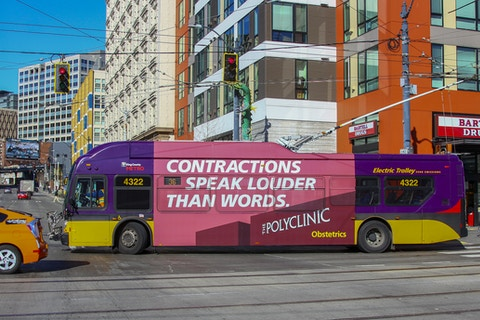 USK bus ad for the Polyclinic in Seattle