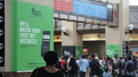 Commuters pass by DraftKings station domination in New Jersey