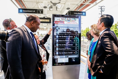 LA Metro IxNTouch screen with arrivals info