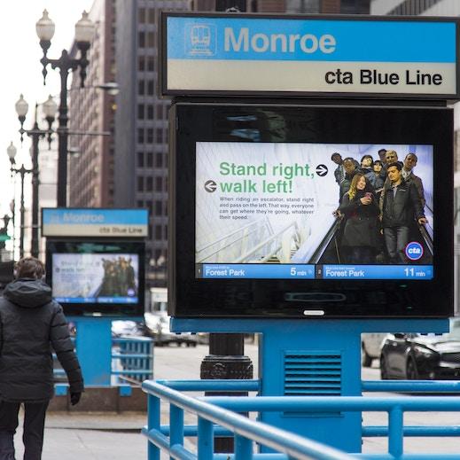 CTA Communications on digital urban panels in Chicago